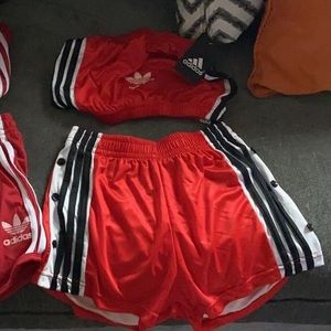 Adidas tube top and shorts outfit